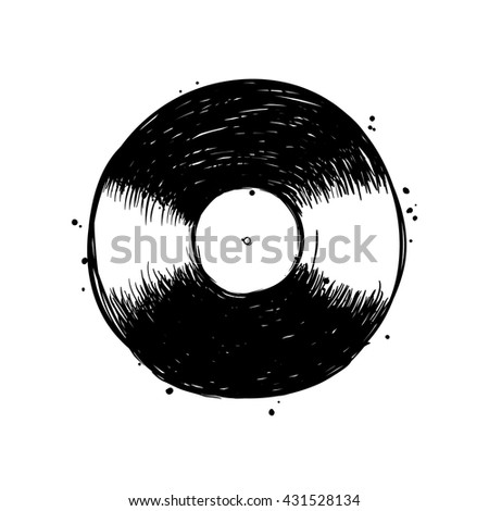Music studio isolated  objects. High quality hand drawn record. - stock vector
