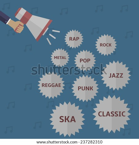 Music style icon set: rap, rock, pop, metal, jazz, reggae, punk, classic, ska. Vector illustration. - stock vector