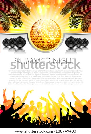 Music Summer Background with Instruments - Vector with place for your text - stock vector