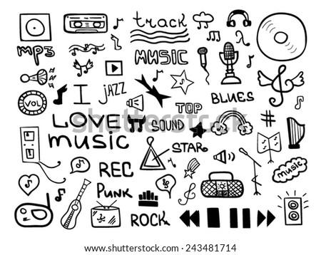 Music symbols set - stock vector