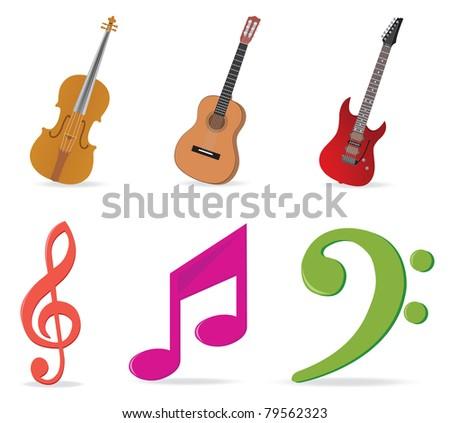Music symbols. Vector illustration - stock vector