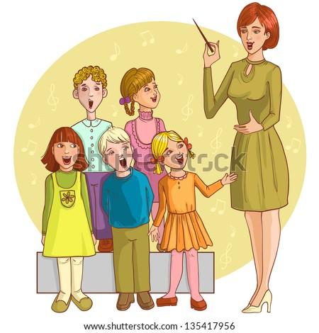 Music Teacher Singing Children Chorus Vector Stock Vector ...