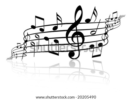 Music theme - black notes on white background - stock vector