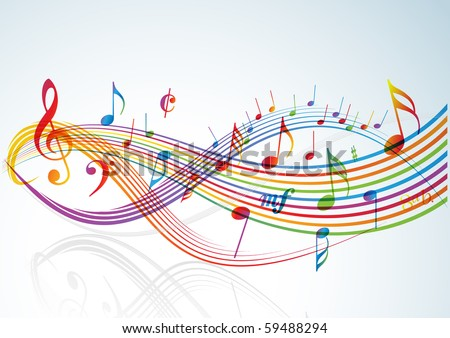 Music theme - rainbow notes on light background - stock vector