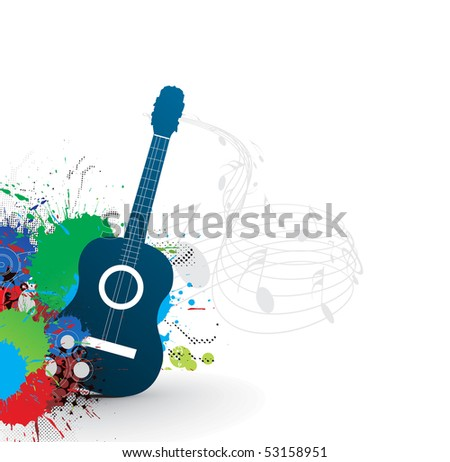 music theme with abstract rainbow color background, vector illustration. - stock vector