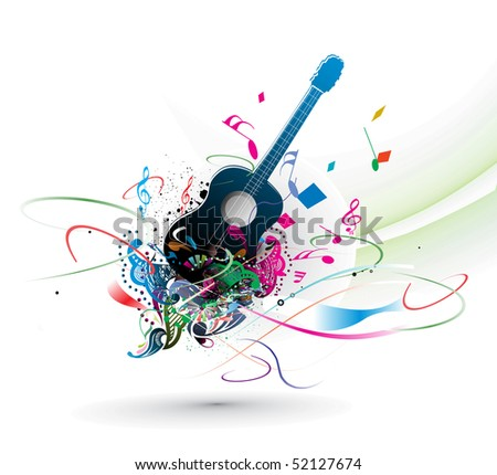 music theme with abstract rainbow color background, vector illustration, more background here