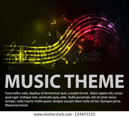 Music theme with lighting tones - stock vector