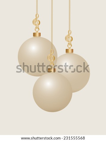 Music themed Three Gold Treble Clef Christmas Ball Hooks and Ribbon with Pearl colored Christmas Ornament Balls - stock vector