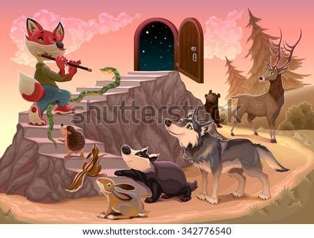 Music to go beyond the fear. Fox is playing the flute. Vector illustration - stock vector