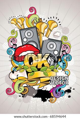 music urban vector art - stock vector