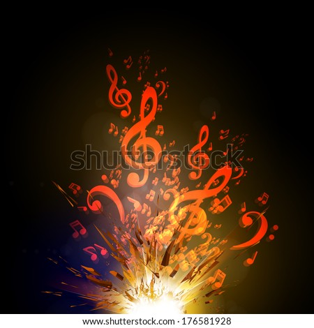 Music vector explode background with note, easy all editable - stock vector