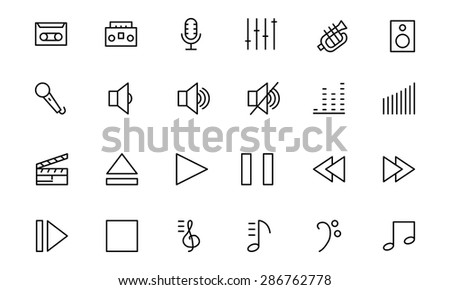 Music Vector Line Icons 1  - stock vector