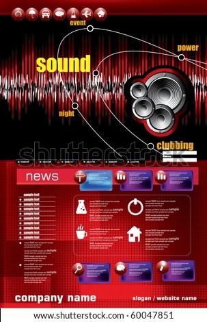 Music vector website template illustration - stock vector