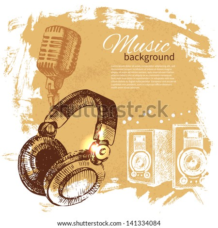 Music vintage background. Hand drawn illustration. Splash blob retro design with headphones	 - stock vector