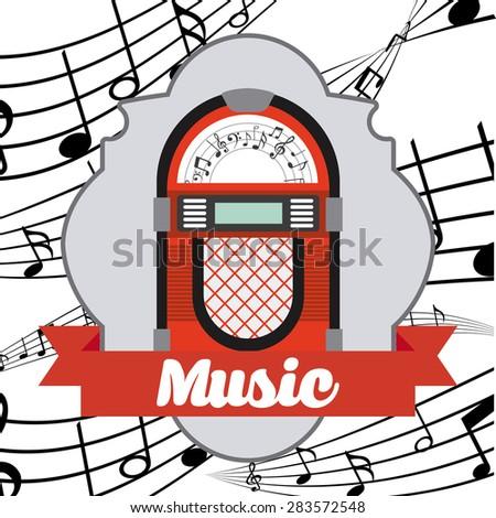 Music Vintage design over white background vector illustration - stock vector