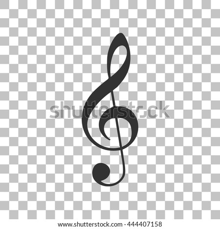 Music violin clef sign. Dark gray icon on transparent background. - stock vector