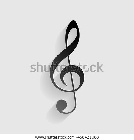 Music violin clef sign. G-clef. Treble clef. Black paper with shadow on gray background. - stock vector
