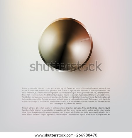 Music volume knob - silver - with space for text  - stock vector