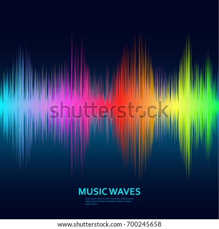 Music waves background. Rainbow sound music equalizer. Vector illustration