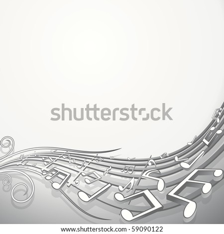 Music Waving Background, vector backdrop for your text or design - stock vector
