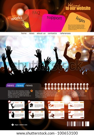 Music web design template - stock vector