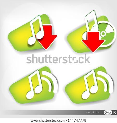 Music web icon - stock vector