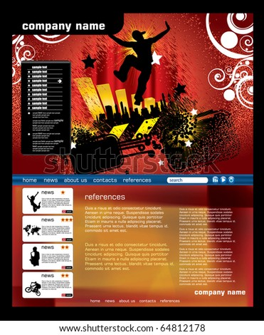 Music web page template - stock vector