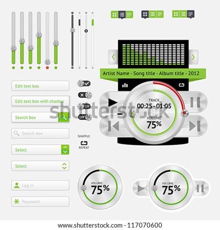 Music Web User interface Elements Design - stock vector