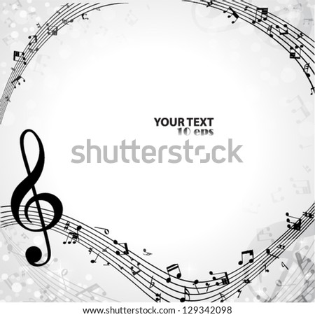 Music with a G clef and musical notes