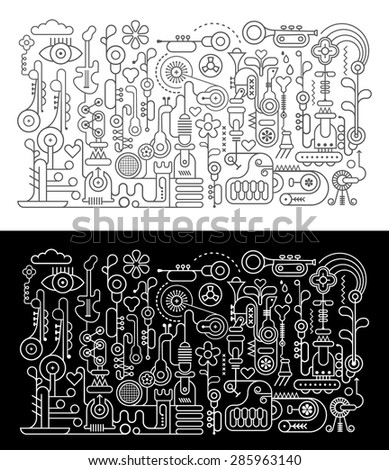 Music Workshop abstract art vector illustration. Two variants of linework composition - on black and on white background. - stock vector