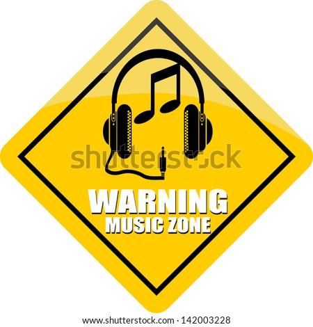 Music Zone, sticker - stock vector