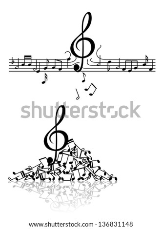 Musical abstract background with spoiled notes and elements. Jpeg (bitmap) version also available in gallery - stock vector