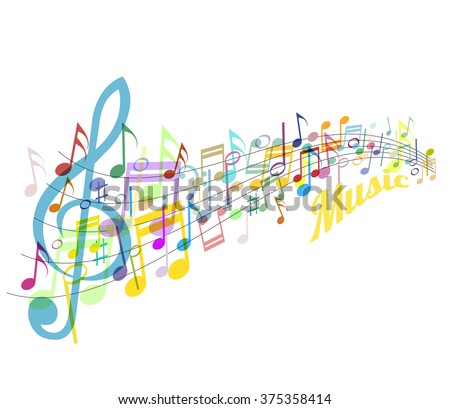 Musical abstraction - vector colorful notes