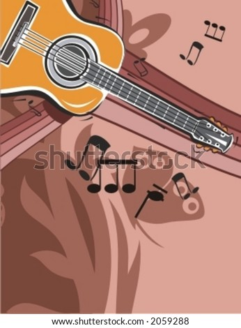 Musical Background-Floral Style Series. - stock vector