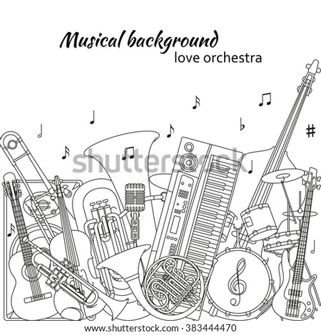 Musical background made of different musical instruments, treble clef and notes. Black and white colors. Set of line icons in music theme. Good for coloring books. Vector illustration. - stock vector