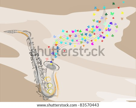 Musical background.Saxophone. - stock vector