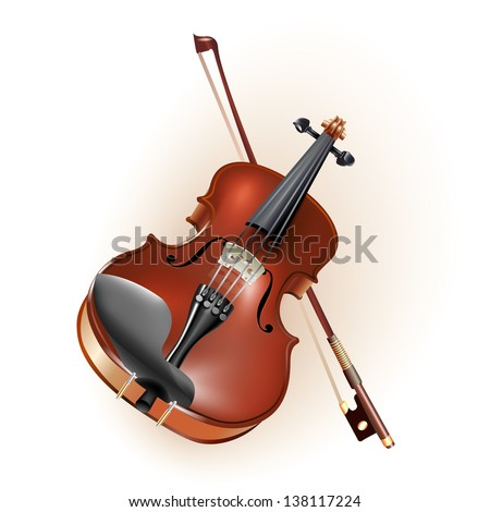 Musical background series. Classical violin, isolated on white background. Vector illustration - stock vector