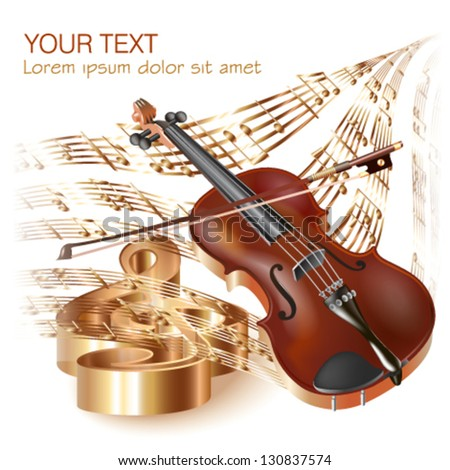 Musical background series.  Classical violin, isolated on white background with musical notes. Vector illustration - stock vector