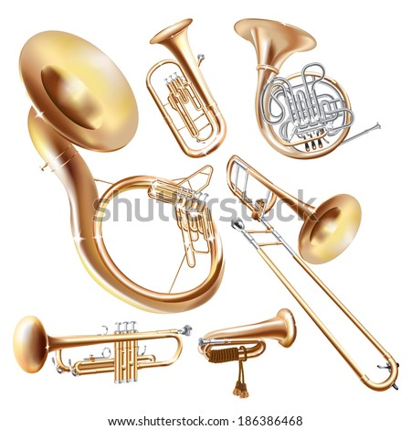 Musical background series. Set of brass wind instruments, isolated on white background . Vector illustration  - stock vector
