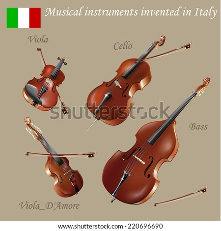 Musical background series. Set of musical instruments invented in Italy. Vector Illustration - stock vector