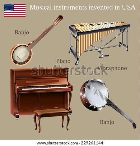 Musical background series. Set of musical instruments invented in the USA. Vector Illustration  - stock vector
