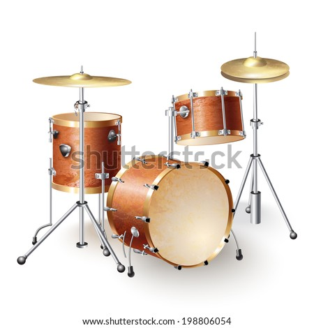 Musical background series. Set of percussion instruments, isolated on white background . Vector illustration  - stock vector
