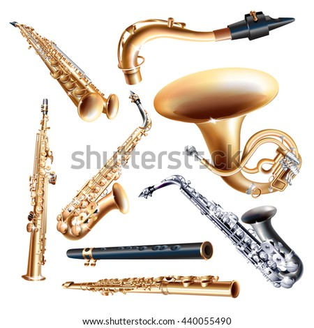 Musical background series. Set of saxophones, isolated on white background . Vector illustration - stock vector