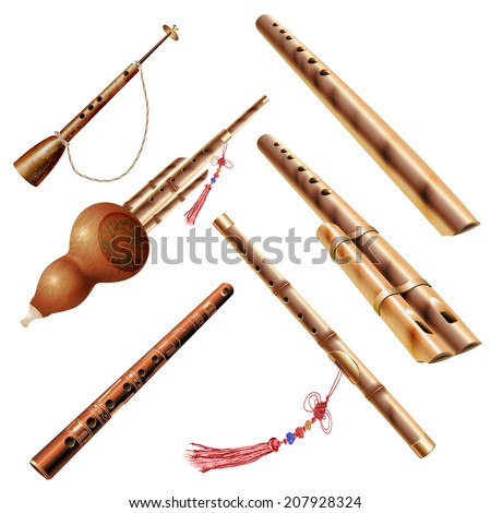 Musical background series. Set of traditional wooden wind instruments, isolated on white background . Vector illustration - stock vector