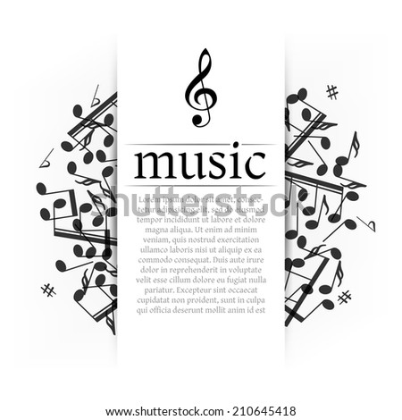 Musical background with clef and notes - stock vector