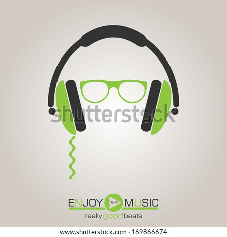 Musical background with headphone - stock vector