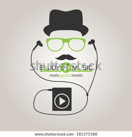 Musical background with headphone. Hipster style - stock vector