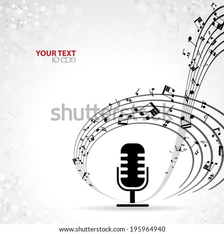 musical background with microphone - stock vector