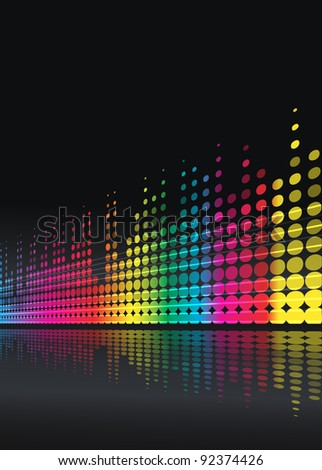 musical background with multicolored lines - stock vector