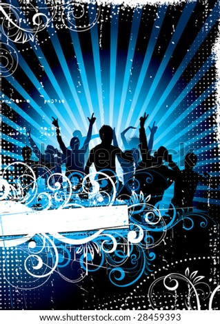 Musical background with people on a background - stock vector